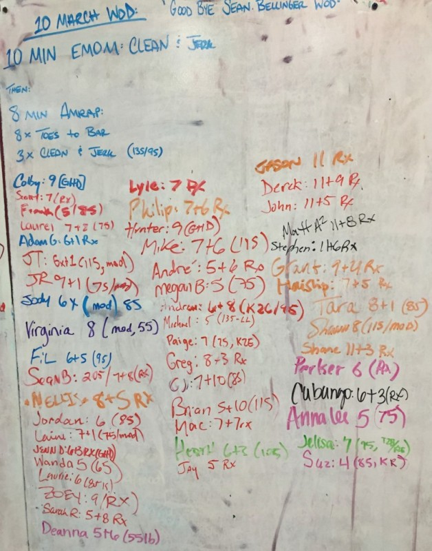 Goodbye Sean Bellinger WOD