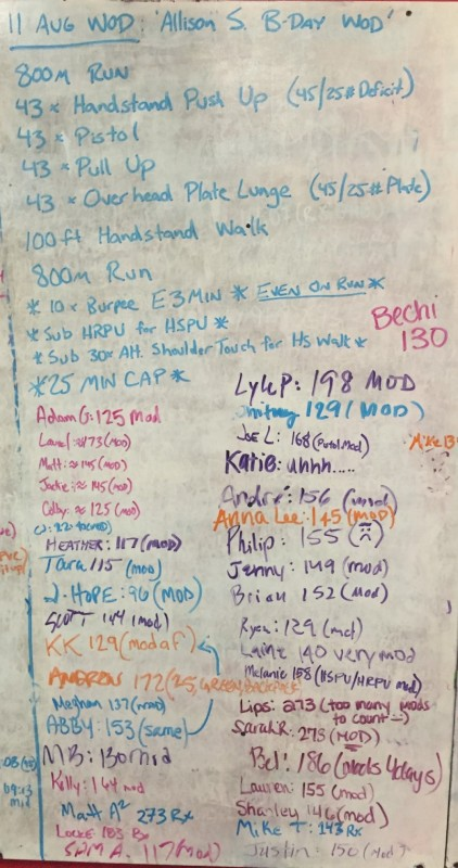 Allison Strnad's B-Day WOD