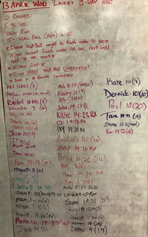 Laurie Albee's B-Day WOD