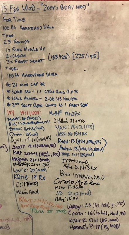 Zoey's B-Day WOD