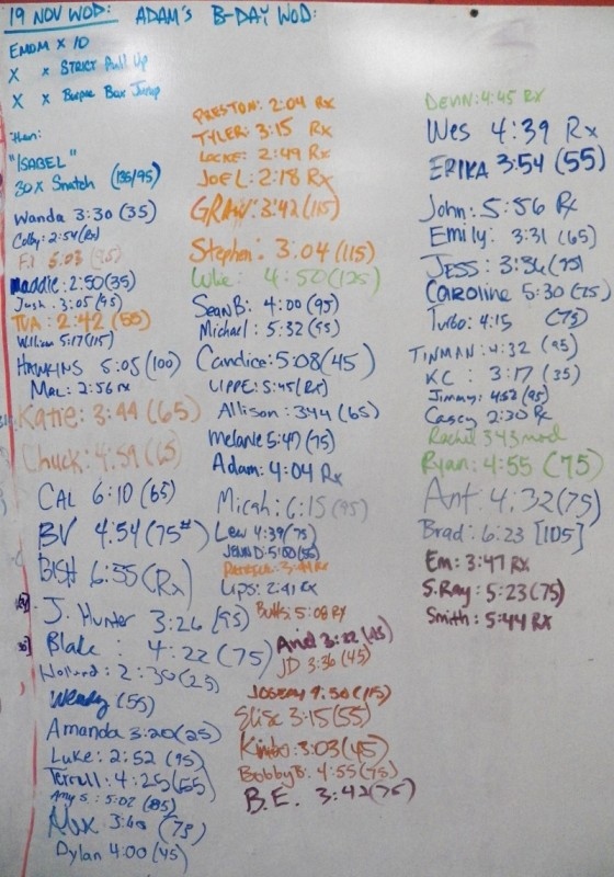 Adam Gray's B-Day WOD