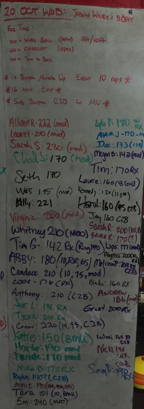 Jason Wiley's B-Day WOD
