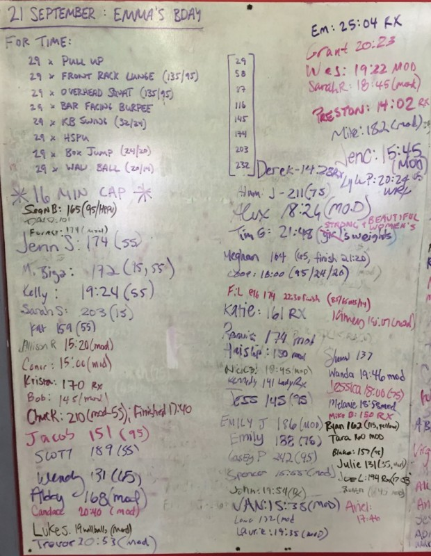 Emma's B-Day WOD