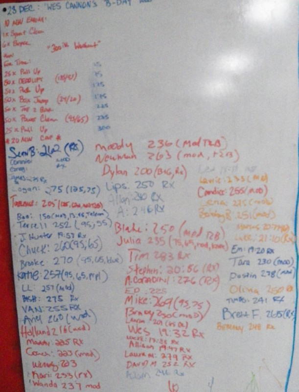 Wes Cannon's B-Day WOD
