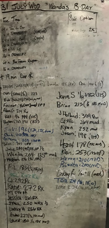 Wanda's B-Day WOD (& Harry Potter's)