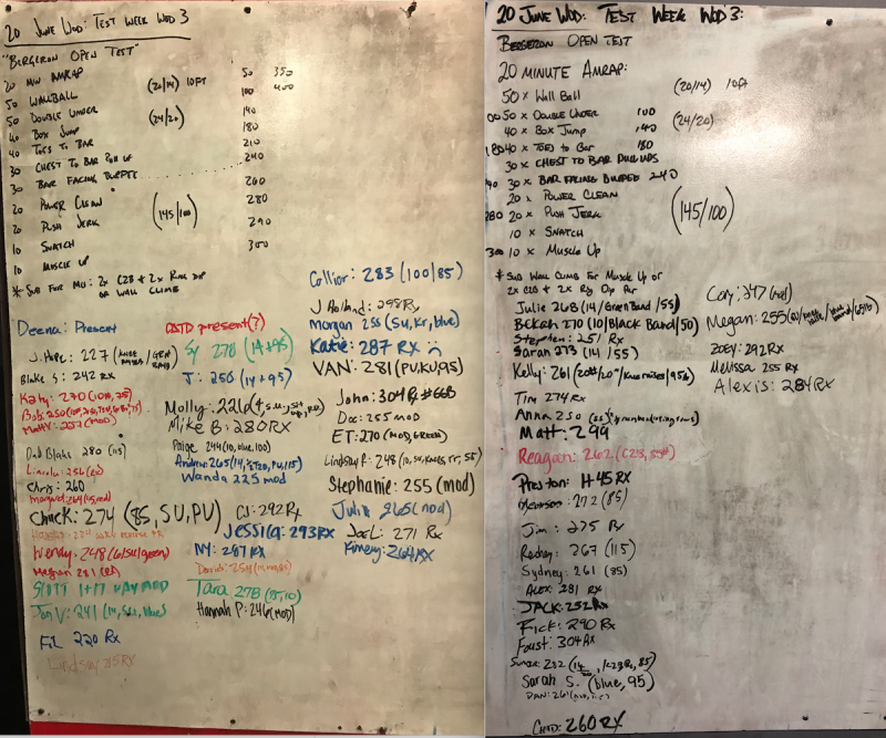 Test Week WOD 3 (Bergeron Open Test)